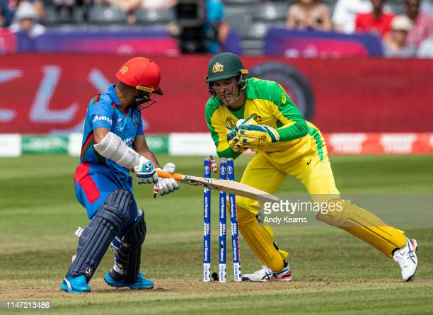 Hashmatullah Shahidi of Afghanistan is stumped by Alex Carey of Australia during the Group Stage match of the ICC Cricket World Cup 2019 between...