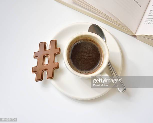 Hashtag chocolate with a cup of coffee