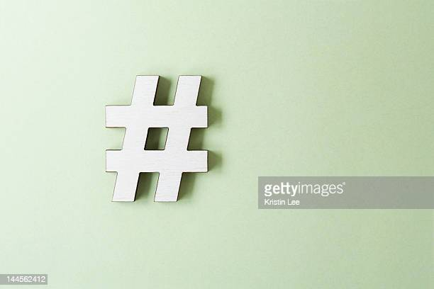 Hashtag on white background, studio shot