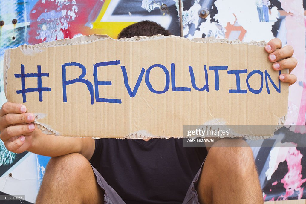 Hashtag Revolution sign : Stock Photo