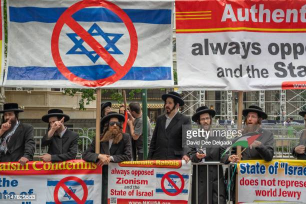 Hasidic Jews protest the annual Celebrate Israel Parade on June 2 2019 in New York City