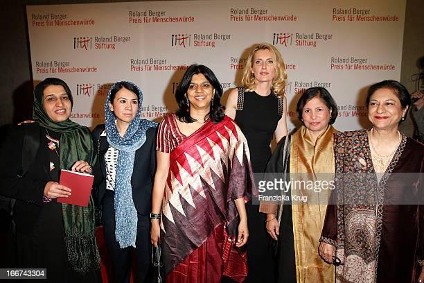 Hasina Safi Leeda Yacoobi Kalpana Viswanath Maria Furtwaengler Suneeta Dhar and Asma Jahangir attend the 'Roland Berger Human Dignity Award' ceremony...