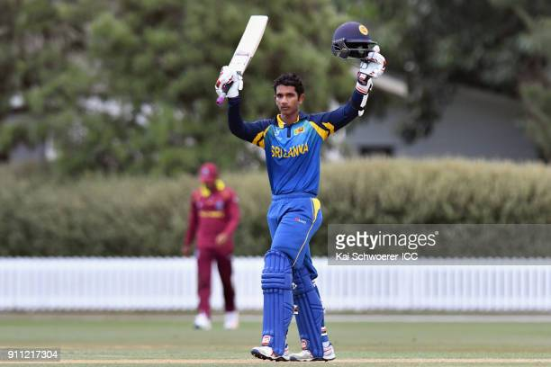 Hasitha Boyagoda of Sri Lanka celebrates his century during the ICC U19 Cricket World Cup Plate Final match between Sri Lanka and the West Indies at...