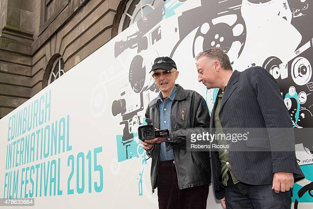 Haskell Wexler and Seamus McGarvey pose for photographers at Filmhouse during the Edinburgh International Film Festival 2015 at Filmhouse on June 26...
