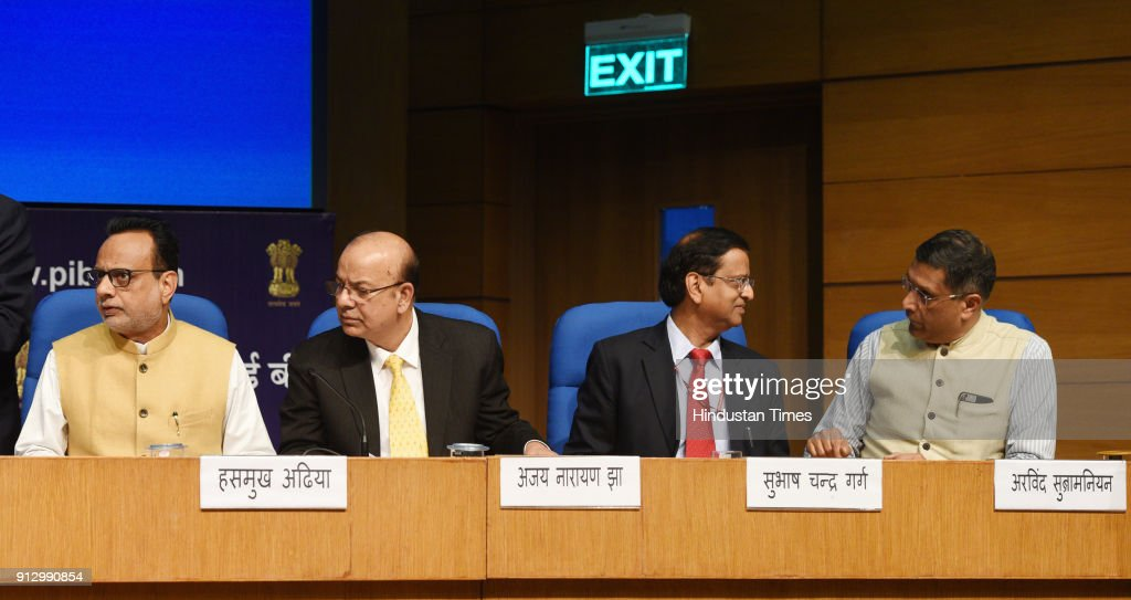 Post Budget Press Conference Of Union Finance Minister Arun Jaitley : News Photo