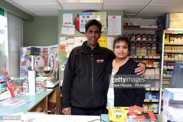 Hasmukh and Chandrika Shingadia who run the Peach's Strore in Upper Bucklebury Berkshire