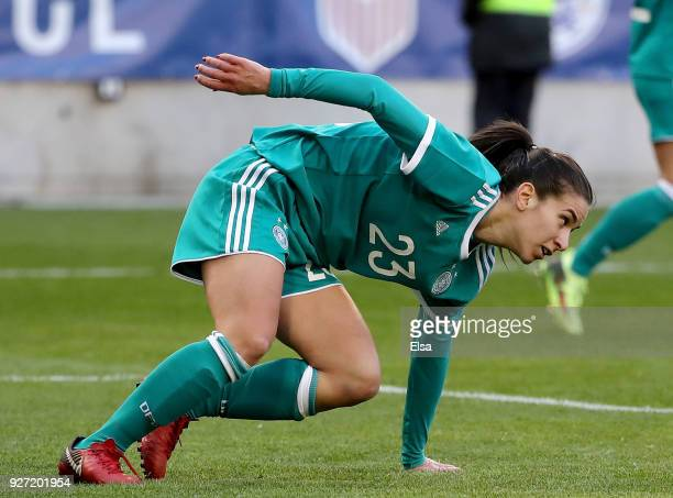 Hasret Kayikci of Germany celebrates her goal in the first half against England during the SheBelieves Cup at Red Bull Arena on March 4 2018 in...