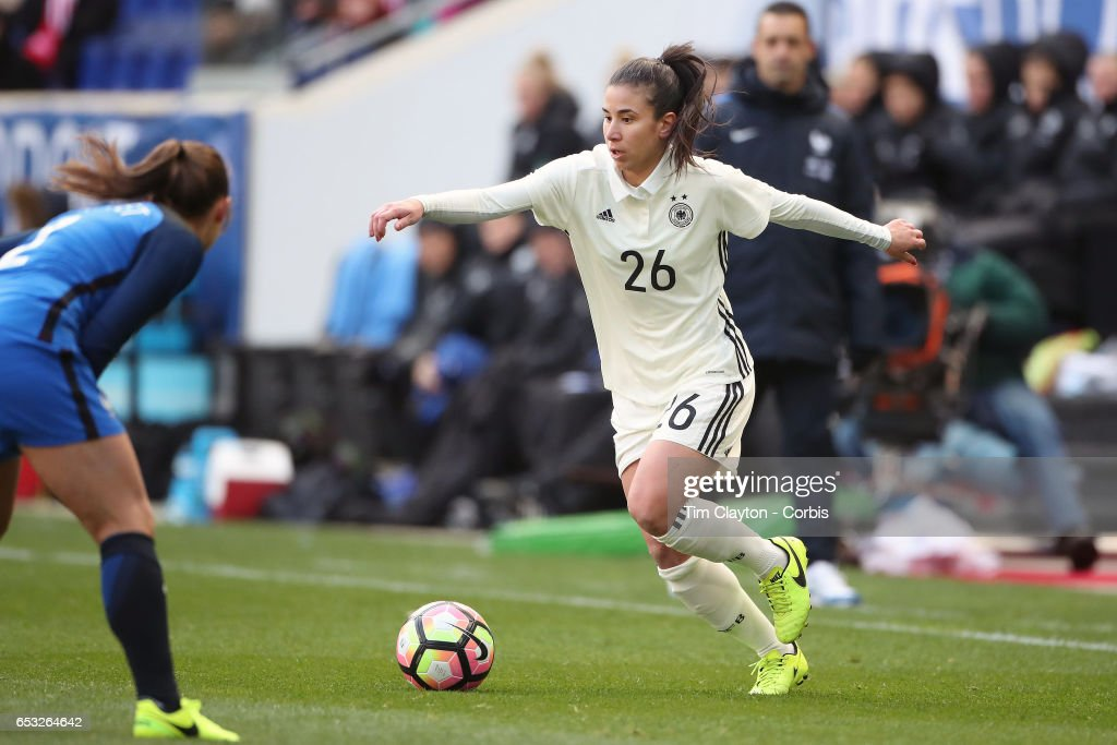 Hasret Kayikci #26 of Germany in action during the France Vs Germany SheBelieves Cup International match at Red Bull Arena on March 4, 2017 in Harrison, New Jersey.