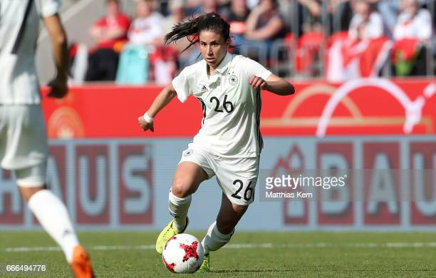 Hasret Kayikci of Germany runs with the ball during the women's international friendly match between Germany and Canada at Steigerwald Stadion on...