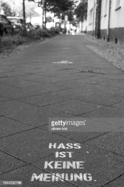 Hass ist keine Meinung Graffito auf einem Gehweg in BerlinPrenzlauer Berg