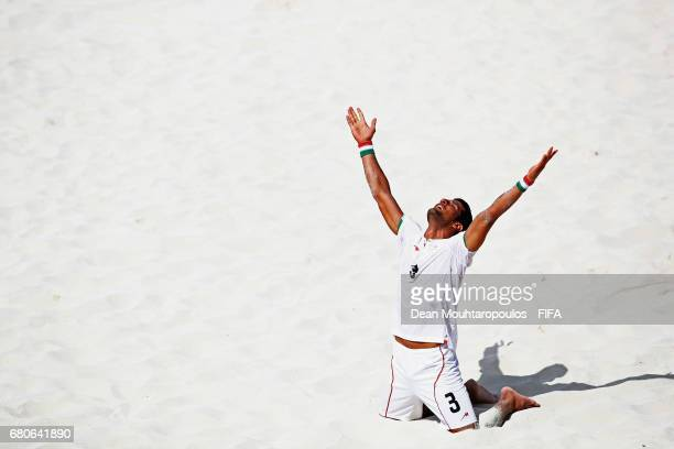 Hassan Abdollahi of Iran celebrates a goal during the FIFA Beach Soccer World Cup Bahamas 2017 third place playoff match between Iran and Italy at...