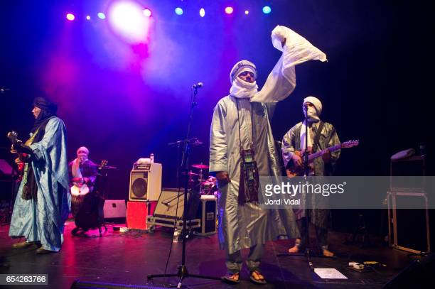 Hassan Ag Tauhami Said Ag Ayad and Abdallah Ah Alhousseyni of Tinariwen perform on stage during Blues i Ritmes at Teatre Principal on March 16 2017...