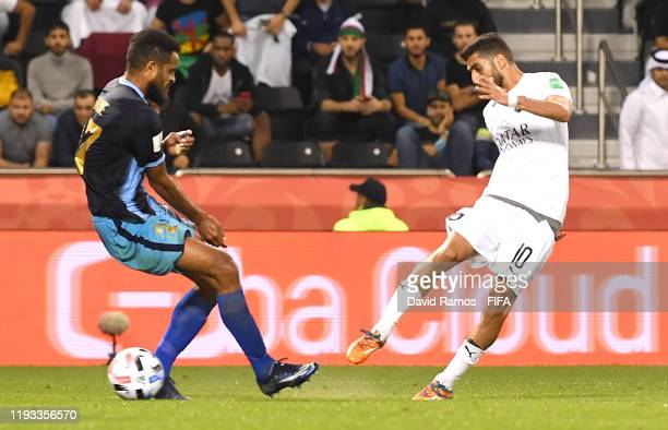 Hassan Al Haydos of AlSadd Sports Club scores his team's second goal which was then ruled offside by VAR during the FIFA Club World Cup Qatar 2019...