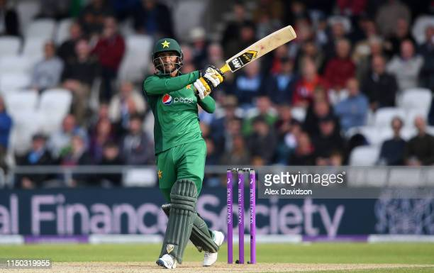 Hassan Ali of Pakistan bats during the 5th One Day International between England and Pakistan at Headingley on May 19 2019 in Leeds England
