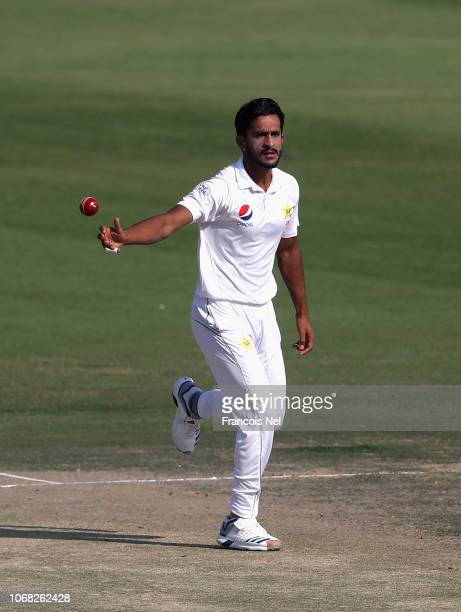 Hassan Ali of Pakistan bowls during day two of The Third Test match between New Zealand and Pakistan Zayed Cricket Stadium on December 4 2018 in Abu...