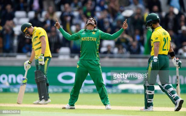 Hassan Ali of Pakistan celebrates after dismissing JP Duminy of South Africa during the ICC Champions Trophy match between South Africa and Pakistan...