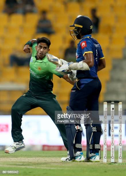 Hassan Ali of Pakistan celebrates after dismissing Kusal Mendis of Sri Lanka during the second One Day International match between Pakistan and Sri...