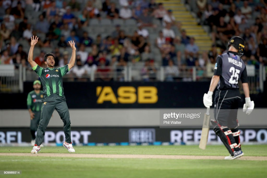 Hassan Ali of Pakistan celebrates his wicket of Ben Wheeler of the Blackcaps during the International Twenty20 match between New Zealand and Pakistan at Eden Park on January 25, 2018 in Auckland, New Zealand.