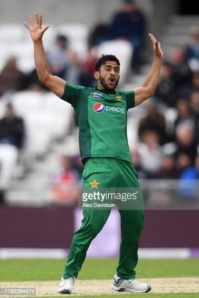 Hassan Ali of Pakistan celebrates taking the wicket of Ben Stokes of England during the 5th One Day International between England and Pakistan at...