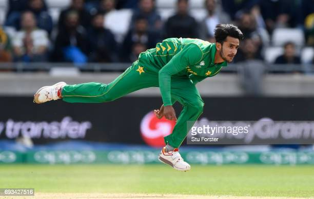 Hassan Ali of Pakistan in action during the ICC Champions Trophy match between South Africa and Pakistan at Edgbaston on June 7 2017 in Birmingham...