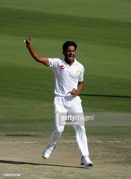 Hassan Ali of Pakistan reacts during day five of The Third Test match between New Zealand and Pakistan at Zayed Cricket Stadium on December 7 2018 in...
