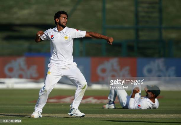 Hassan Ali of Pakistann celebrates with teammates after dismissing Kane Williamson of New Zealand during day one of the Third Test match between...