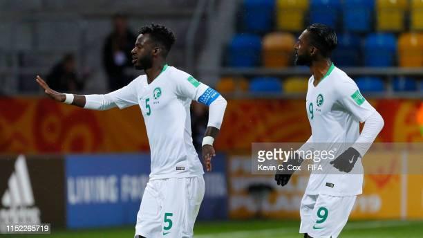 Hassan Altambakti of Saudi Arabia celebrates with his team mate Feras Albrikan after scoring his team's second goal during the 2019 FIFA U-20 World...