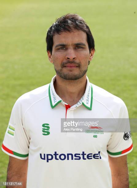 Hassan Azad poses during a Leicestershire CCC Photocall at Grace Road on March 23, 2021 in Leicester, England.