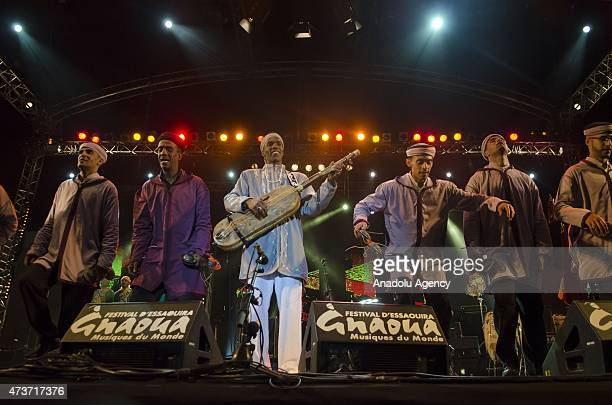Hassan Boussou performes during 18th Annual Gnaoua Music Festival in Essaouira Morocco on May 16 2015