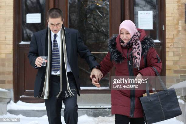 Hassan Diab and his wife Rania Tfaily leave Amensty International Canada in Ottawa Ontario on January 17 2018 after Diab held a press conference...