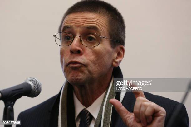 Hassan Diab holds a press conference at Amensty International Canada in Ottawa Ontario on January 17 2018 following his return to Canada Diab was...