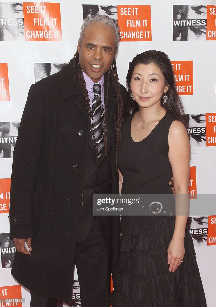 Hassan Hakmoun (L) and Chikako Iwahori attend the 2013 Focus For Change gala benefiting WITNESS at Roseland Ballroom on December 5, 2013 in New York City.