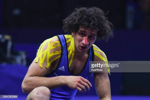 Hassan Hassan Ahmed Mohamed of Egypt with a bleeding nos during a Bronze medal fight against Rahman Bilici of Turkey in men's GreecoRoman wrestling...