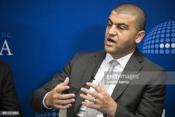 Hassan Hassan Senior Fellow at the Tahrir Institute for Middle East Policy speaks during a panel discussion on The Geneva Process Toward a Political...