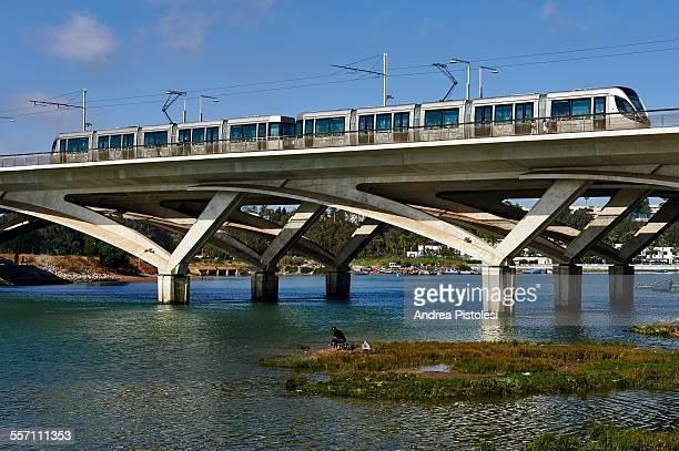 hassan ii bridge and tram in rabat - tram stock pictures, royalty-free photos & images