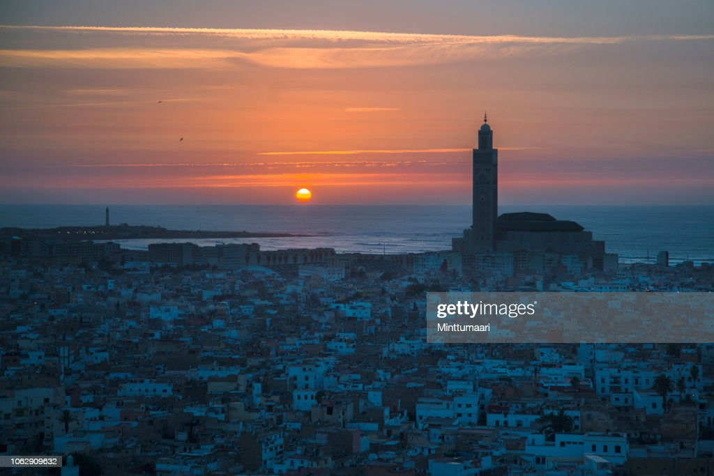 Hassan II Mosque, Casablanca skyline : Stock Photo