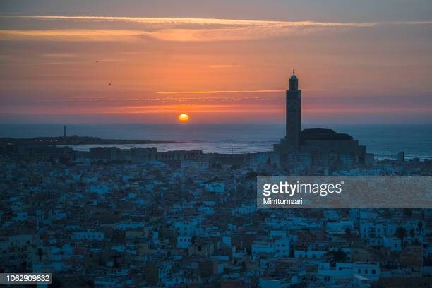 hassan ii mosque, casablanca skyline - morocco stock pictures, royalty-free photos & images