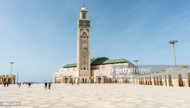 Hassan II Mosque, Grande Mosquee Hassan II, Moorish architecture, with 210m highest minaret in the world, Casablanca, Morocco