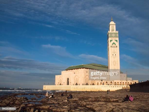 hassan ii mosque in casablanca, morocco - mosque hassan ii photos et images de collection