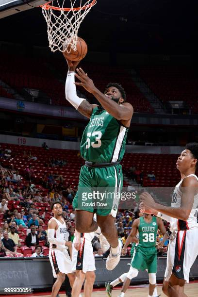 Hassan Martin of the Boston Celtics goes to the basket against the Portland Trail Blazers during the 2018 Las Vegas Summer League on July 15 2018 at...