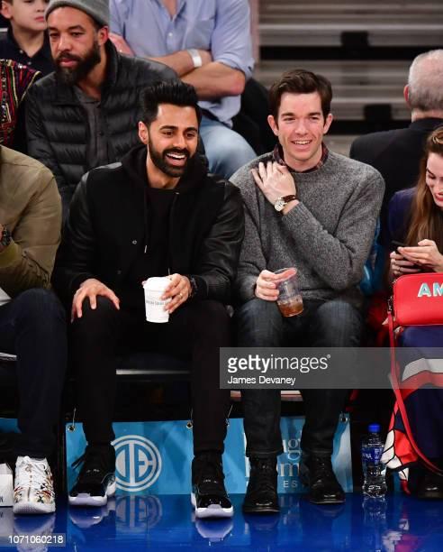 Hassan Minhaj and John Mulaney attend Charlotte Hornets v New York Knicks game at Madison Square Garden on December 9 2018 in New York City