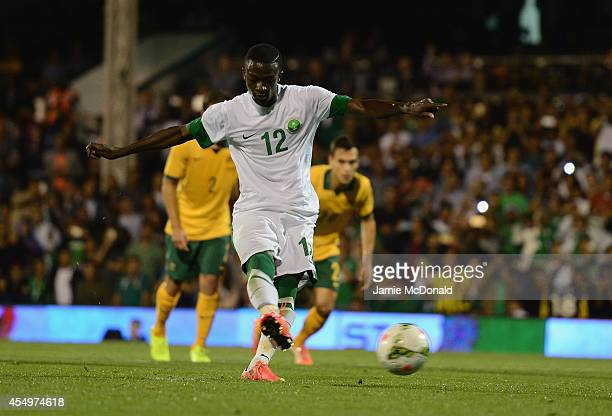 Hassan Muath of Saudia Arabia scores a goal during the International Friendly match between Saudi Arabia and Australia at Craven Cottage on September...