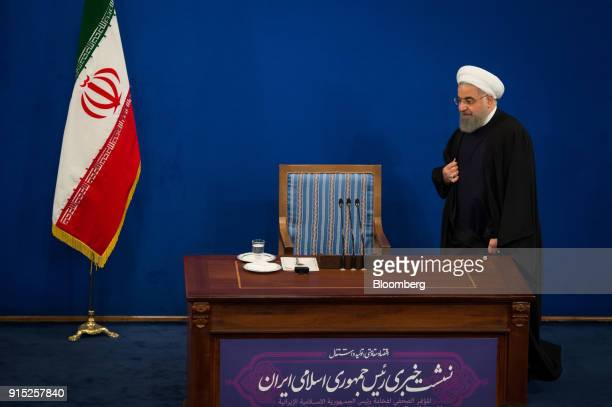Hassan Rouhani Iran's president arrives for a news conference to mark the 39th anniversary of the Islamic Revolution in Tehran Iran on Tuesday Feb 6...