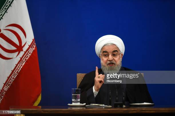 Hassan Rouhani, Iran's president, gestures as he speaks during a news conference in Tehran, Iran, on Monday, Oct. 14, 2019. Rouhani said the attack...