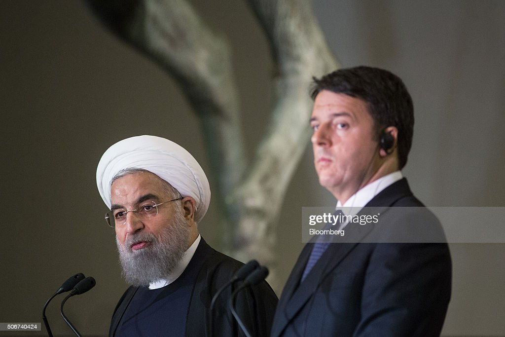 Iran's President Hassan Rouhani Visits Italy, His First Visit To Europe Since Sanctions Were Lifted : News Photo