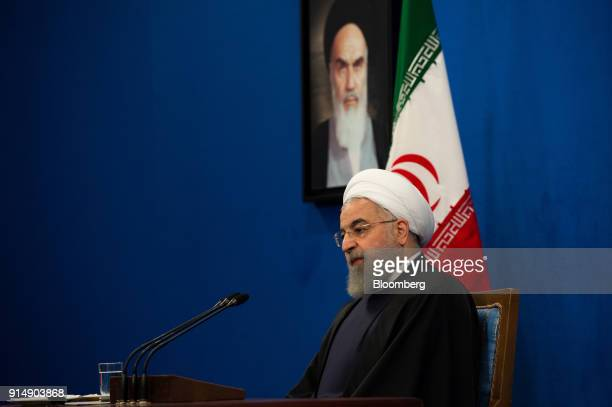 Hassan Rouhani Iran's president looks on during a news conference in Tehran Iran on Tuesday Feb 6 2018 Rouhanisaid that Irans Social Security...