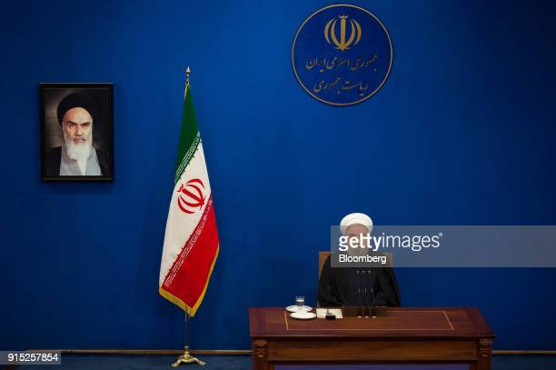 Hassan Rouhani Iran's president looks on during a news conference to mark the 39th anniversary of the Islamic Revolution in Tehran Iran on Tuesday...