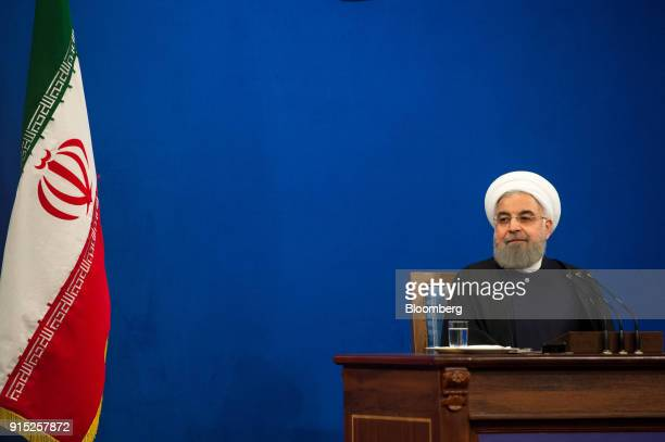 Hassan Rouhani Iran's president pauses during a news conference to mark the 39th anniversary of the Islamic Revolution in Tehran Iran on Tuesday Feb...