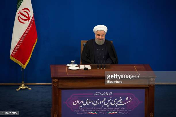 Hassan Rouhani Iran's president reacts during a news conference to mark the 39th anniversary of the Islamic Revolution in Tehran Iran on Tuesday Feb...