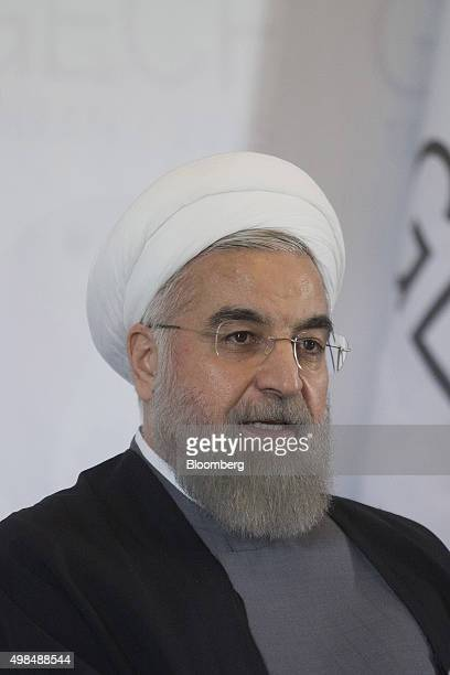 Hassan Rouhani Iran's president speaks during a news conference at the Gas Exporting Countries Forum summit in Tehran Iran on Monday Nov 23 2015 The...